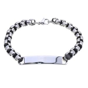 Armband - Mörkoxiderat stålarmband med platta