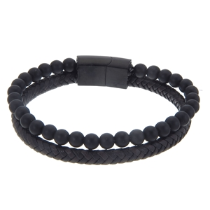Armband - Herrarmband i äkta skinn och stål, dubbelradigt med svarta Onyxkulor