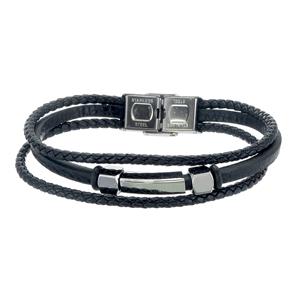 Armband - Herrarmband i skinn och stål, 3 radigt