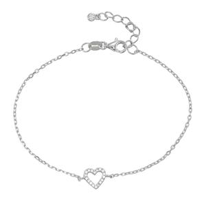Armband - Armband silver, Hjärta med Cubic Zirkonia stenar